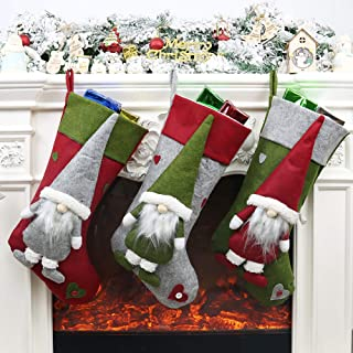 VANCORE 3 PCS Christmas Stocking, 19 X 9 Inches Classic 3D Plush Swedish Gnome Xmas Stockings Hanging Christmas Decoration for Tree, Fireplace, Family Holiday and Party Ornament