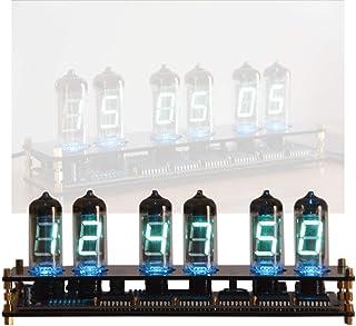 LEDデジタル時計、スペード色の台座がついた子供用bluetooth音声発光時計、Nixie Tube Clock蛍光灯管開時計、クリスマスプレゼント,6background lights