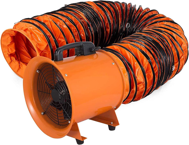 Extractor Ventilador Industrial 2.800 r/m Ventilador Profesional para Construcción 520W Ventilador Portátil de Piso Industrial, Ventilador Industrial 300 mm Portátil Conducto PVC Tubo 10m