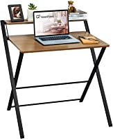 GreenForest Folding Desk No Assembly Required, 2-Tier Small Computer Desk with Shelf Space Saving Foldable Table for...