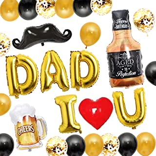 RenbangUS Fathers Day Party Balloon Kit Decoration Whiskey Bottle Beer Bottle and Beer Mug Happy Fathers Day Party Atmosph...