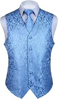 HISDERN 3pc Men's Paisley Floral Jacquard Waistcoat & Necktie and Pocket Square Vest Suit Set