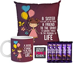 YaYa Cafe Rakhi Gift Combo for Sister is a Gift to Heart Friend for Life Mug , Cushion Cover, 5 Cadbury Dairy Milk Chocolate, with Coaster Set of 3 Raksha Bandhan