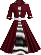 Josherly Nice Autumn and winter hot new dress stripes splicing large size big skirt Red wine XL