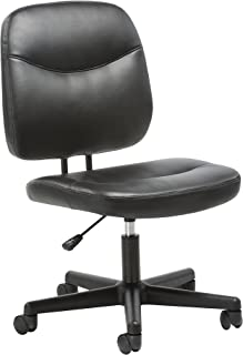 OFM Essentials Collection Armless Leather Desk Chair, in Black (ESS-6005-BLK)
