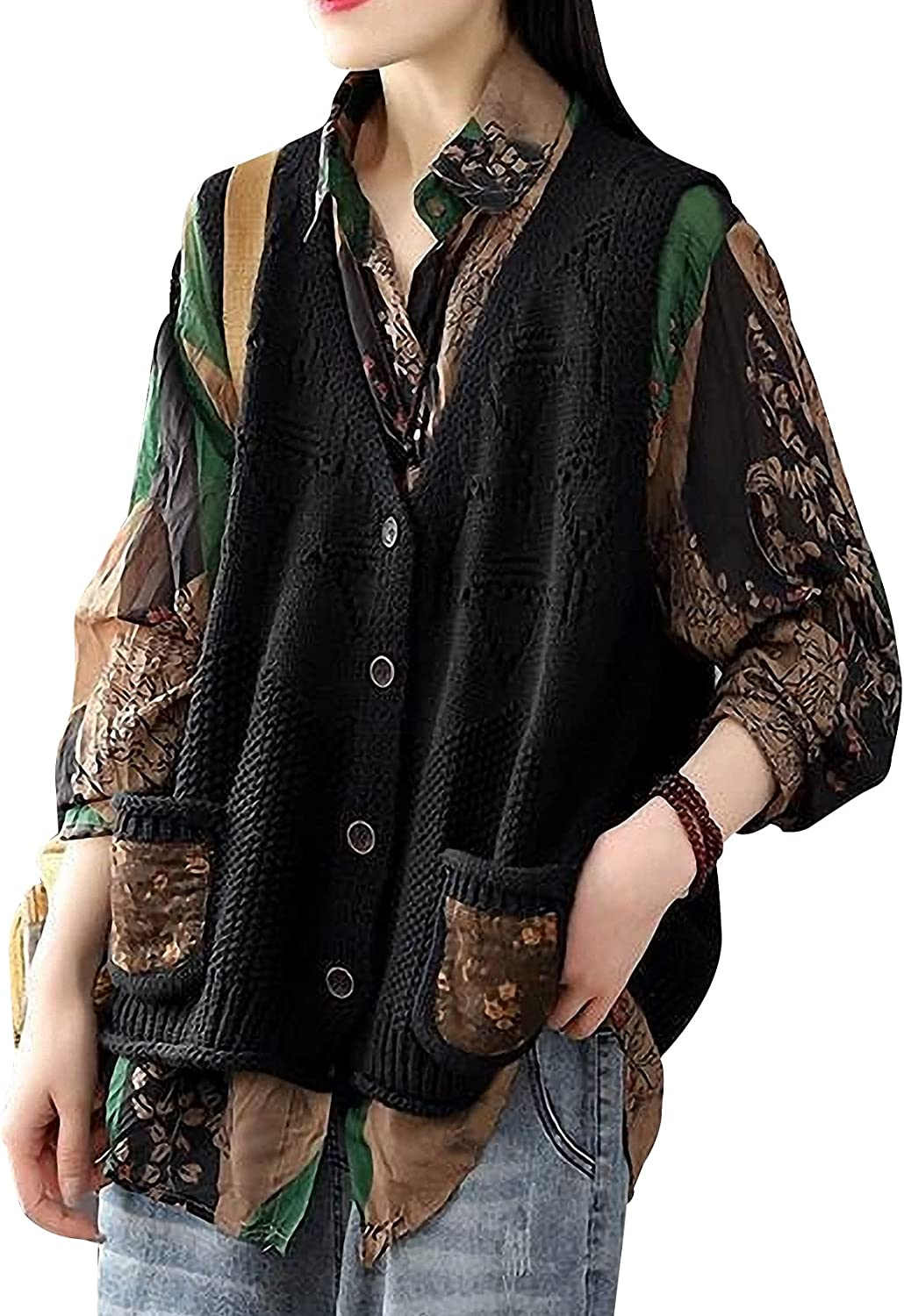 Gihuo Women's Casual Deep V Neck Sleeveless Loose Fit Button Down Sweater Vest Knitwear Tops