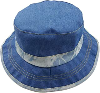 Sunscreen Cap Old Washed Denim Blue Retro Men And Women Couple Flat Top Sunscreen Fisherman Hat Accessories (Color : Light...