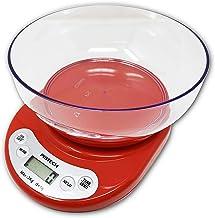 PRITECH - Báscula Digital para Cocina con Tazón Removible, 3 kg / 6,6 lbs, Balanza Digital de Alimentos Auto Apagado, con Pantalla LCD, Función Auto Tara, Baterías Incluidas (Rojo)