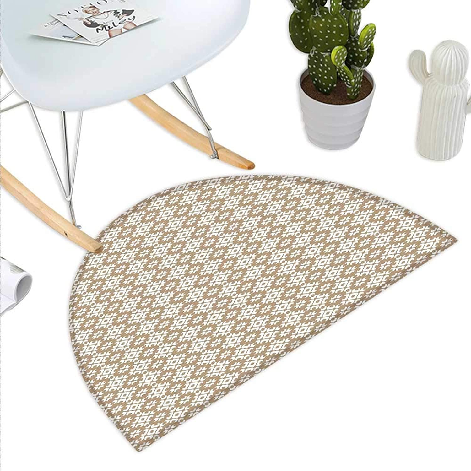 Beige Semicircle Doormat Geometric Arrangement with Diamond Pattern Circular Abstract Shapes Dotted Design Halfmoon doormats H 39.3  xD 59  Beige White