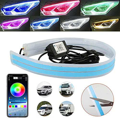 """lowest 24"""" Headlight LED Strip, Romantic Vehicle Decoration, APP Control with outlet online sale Smart Phone, Flexible Length and Color for Daytime Running Light on Any 12V Automobile, IP68 popular (Pack of 2) outlet sale"""