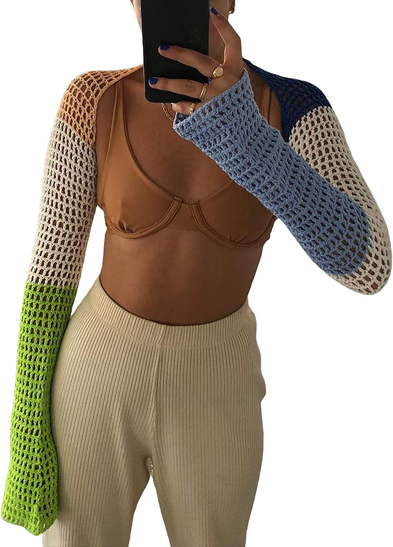 Womens Arm Sleeve Shrug Crocheted Shawl Long Sleeves Contrast Color Bolero Cardigan Loose Sheer Crop Shrug Sweaters