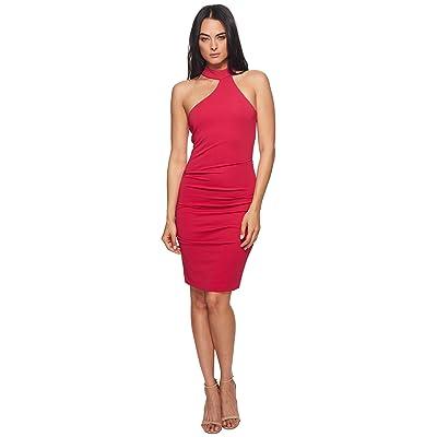 Nicole Miller Mock Neck Dress (Fuchsia) Women