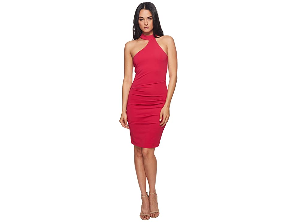 Nicole Miller Mock Neck Dress (Fuchsia) Women