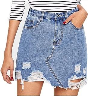 Bleach Wash Distressed Denim Skirt Streetwear A Line Skirt Women Mini Skirts