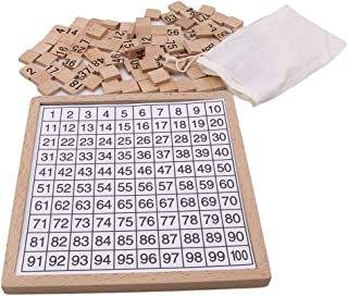 Wooden Toys Hundred Board 1-100 Consecutive Numbers Wooden Educational Game for Kids with Storage Bag, W8.26 L8.26inches