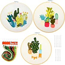 HaiMay 3 Sets Embroidery Starter Cross Stitch Kit with 3 Pieces Cactus Pattern, Bamboo Embroidery Hoops, Color Threads and Tools Kit
