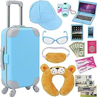 "ZITA ELEMENT 20 Pcs American 18 Inch Boy Doll Suitcase Luggage Travel Set for Boy 18"" Doll Travel Carrier Storage, Includi..."
