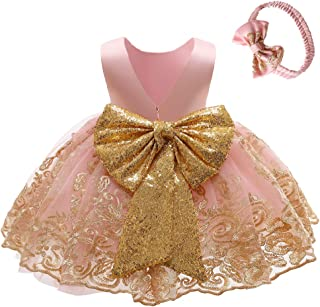 0-6T Big Bowknot Sequins Embroidered Lace Party Tutu Gown Toddler Baby Girls Dress with Headwear