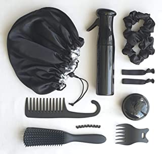 Natural Hair Care Essentials Kit - 10 Piece Set Perfect For Natural, Curly, Coily, Textured Hair (Black)