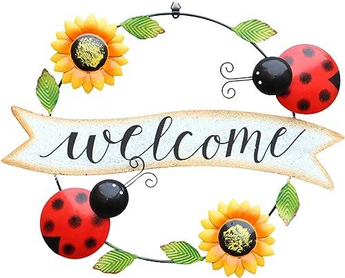 Handcrafts Metal Front Door Welcome Sign Ladybug/Bee Sunflower Welcome Sign Door Decor Hanging Outdoor Wreath Decorative Door Porch Bar Cafe Shop Decoration Ornament, 18In