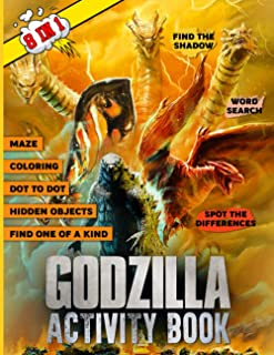 Godzilla Activity Book: Kid Word Search, Find Shadow, Spot Differences, One Of A Kind, Maze, Dot To Dot, Coloring, Hidden ...
