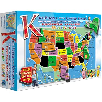 45 Pieces Wipe-Clean Surface 18.2/″ H /× 11.6/″ W /× 0.45/″ L Melissa /& Doug Wooden USA Map Puzzle Teaches Geography /& Shapes