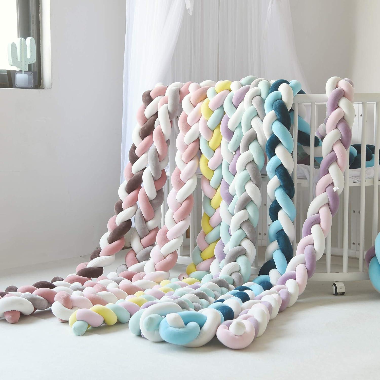 YIKANWEN Baby Crib Bumper Knotted Braided Plush Nursery Cradle Decor Newborn Gift Pillow Cushion Junior Bed Sleep Bumper 2 Meters /…