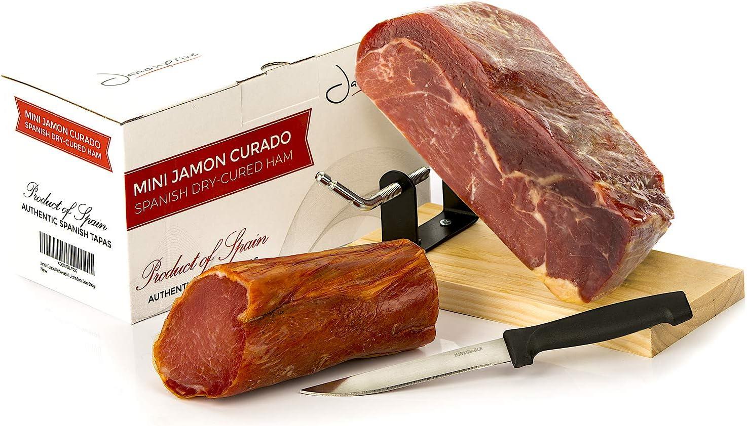 Jamón Serrano Curado Deshuesado Version approx. 1 Kg con Jamonero y Cuchillo + Lomo Duroc Natural 250 gr - Jamonprive