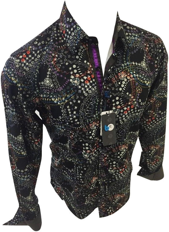 - Men's B Rey by Caviar Caviar Caviar Dremes Designer Woven Button up Shirt Black Abstract Multicolor Print 59BR55 4af6b2