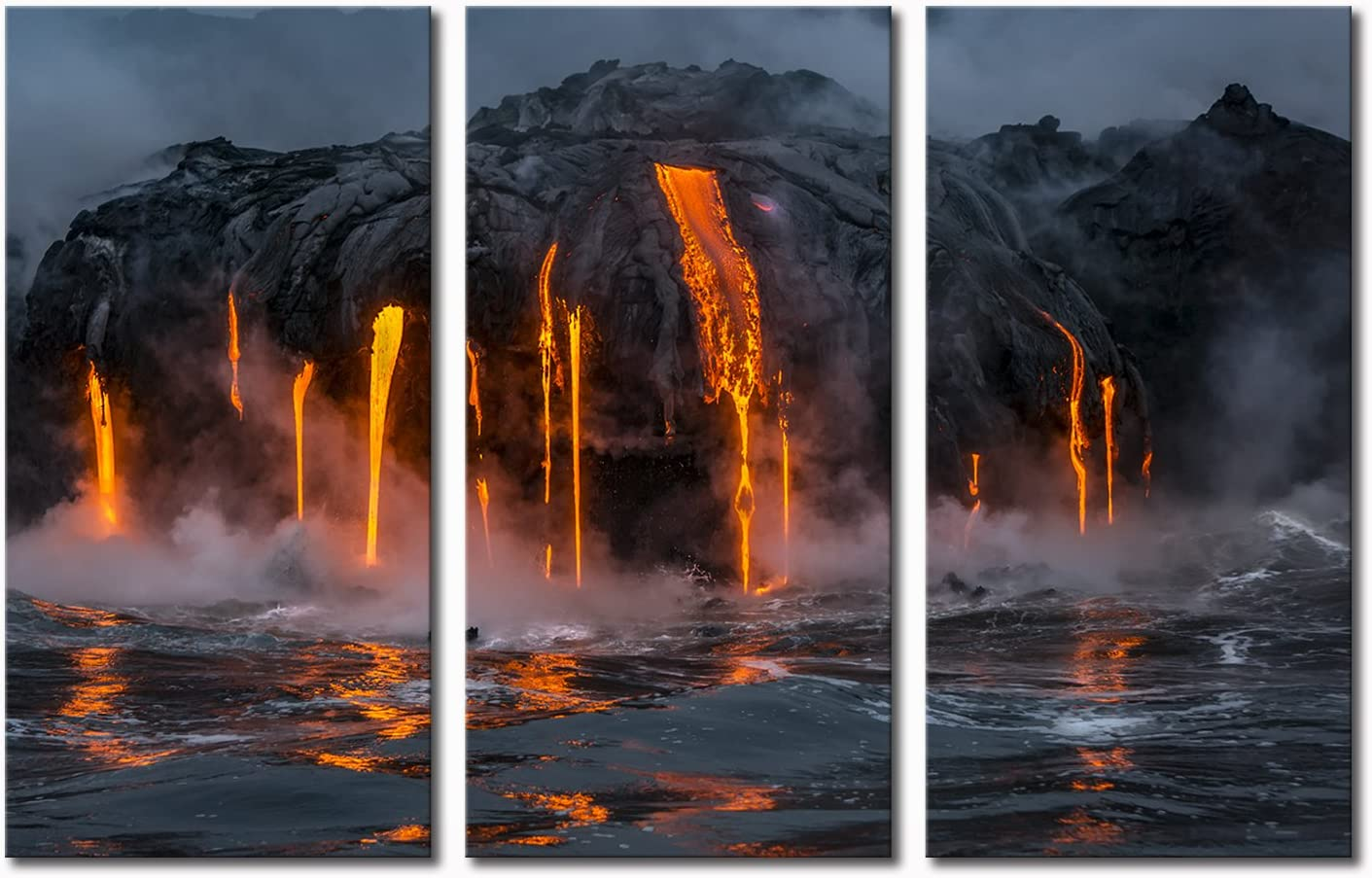 Amazon Com Klvos 3 Piece Canvas Wall Art Twilight Flow Sea View Of Kilauea Volcano In Big Island Hawaii United States Modern Home Decor Stretched And Framed Ready To Hang 16 X32 X3