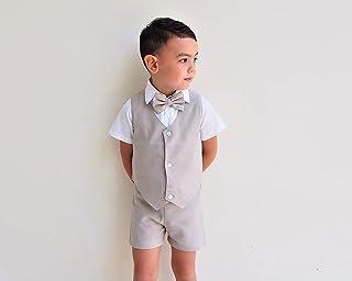 34b9432544 4pcs Boy Linen Suit - Beige, Linen Pants, Boy Linen Outfit, Pageboy,