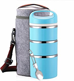 Lille Home Stackable Stainless Steel Thermal Compartment Lunch Box | 3-Tier Insulated Bento Box/Food Container with Insulated Lunch Bag & Foldable Stainless Steel Spoon (Blue)