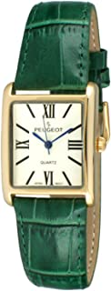 Women's 14K Gold Plated Tank Leather Dress Watch with Roman Numerals Dial