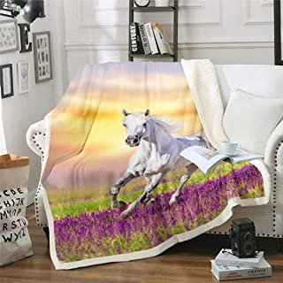 Erosebridal Galloping Horse Blanket Cowgirl Cowboy Western Fleece Blanket Plush Sherpa Throw Blanket for Couch Sofa Bed Ki...
