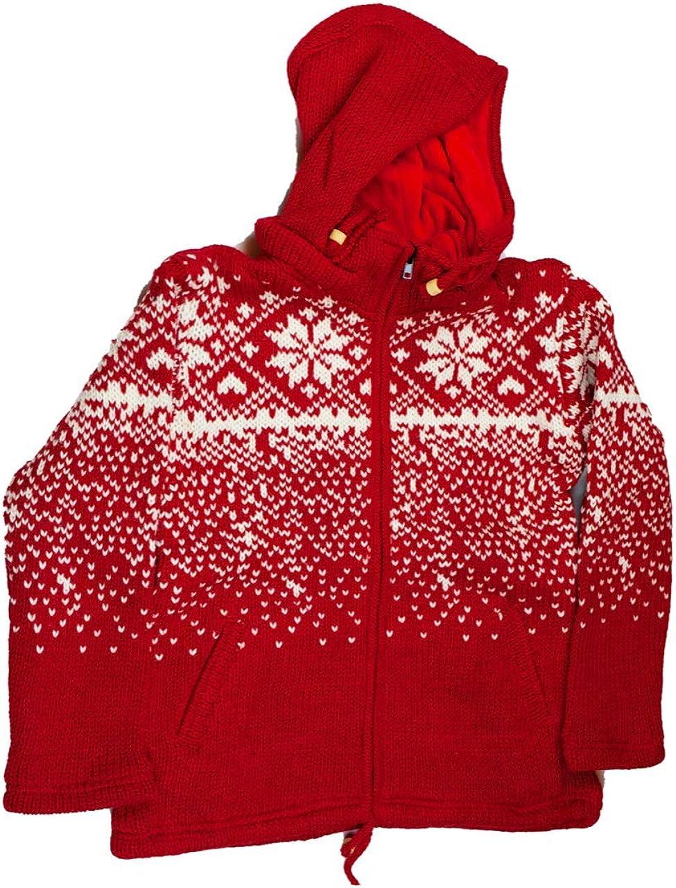 Himalayan Woolen Jacket with Soft Inner Fleece Red