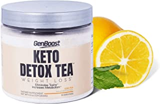 Keto Detox Tea Weight Loss - Exogenous Ketones/Keto & Paleo Diet Friendly - Powdered Iced Tea Support Metabolism & Cleanse & Ketosis - Green, Black, White Tea Extracts & Beta-Hydroxybutyrate BHB Salt
