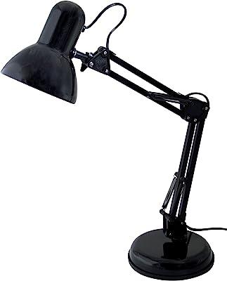 Velamp TL1207-N Lampe de Table avec Bras articulé. Culot E27, Compatible LED. pour Bureaux, étudiants, Lecture, Chambre d'enfants, Métal, 6 W, Noir