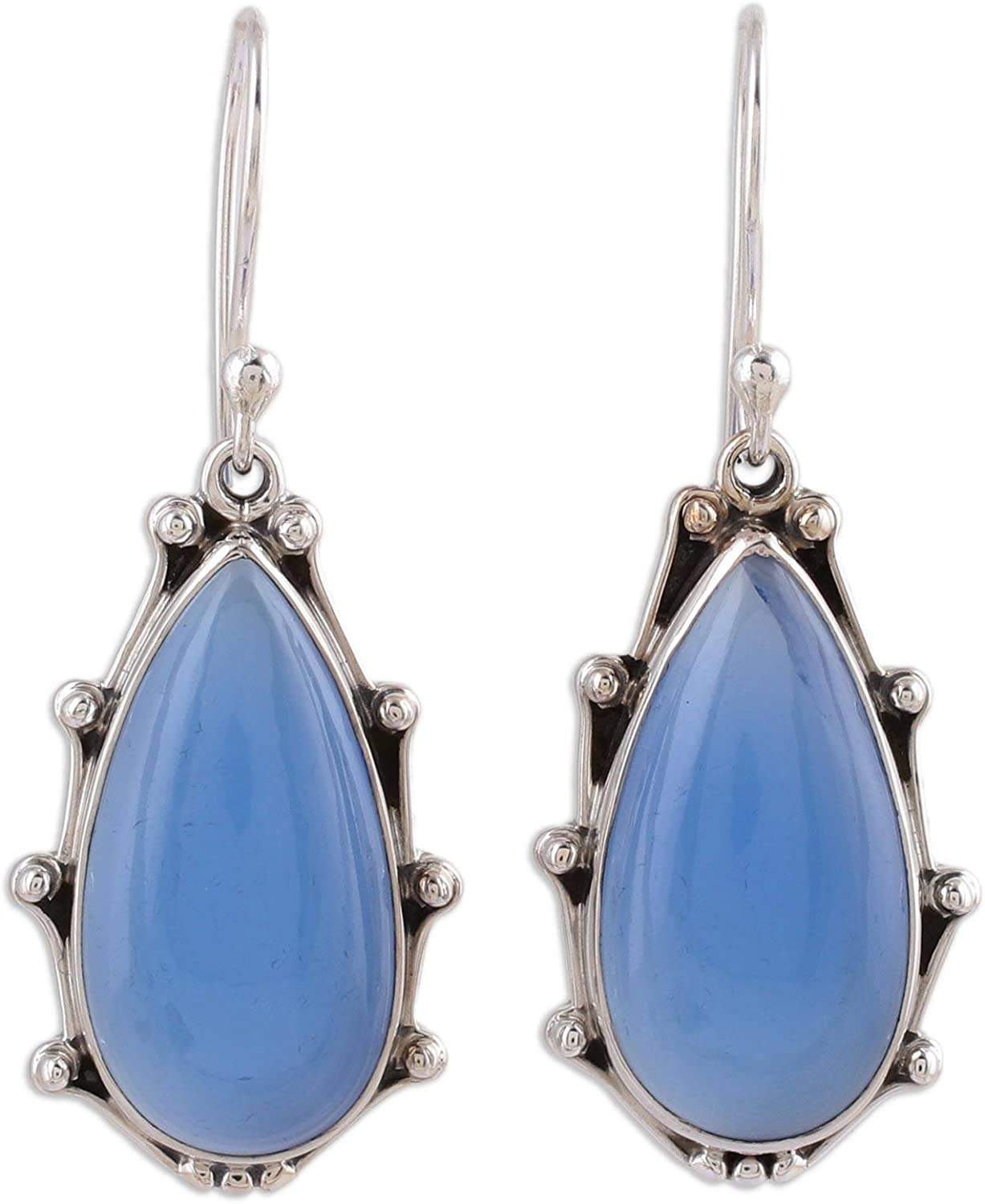 NOVICA Chalcedony Manufacturer regenerated product .925 Sterling Earrings 'Peaceful Silver Dangle Large special price