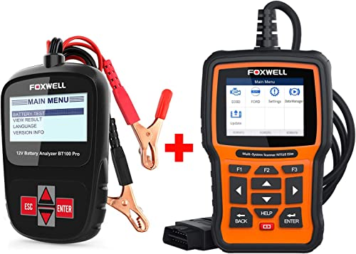2021 FOXWELL Car Battery Tester Analyzer BT100 Pro 12V Automotive outlet sale 100-1100CCA Detect Health Faults with popular Foxwell Full System Scanner NT510 for Ford outlet online sale