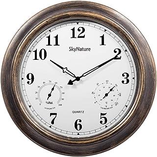 ساعات خارجية مع ميزان حرارة ورطوبة - ساعة معدنية صامتة تعمل بالبطارية 45.72 سم، ديكور للحائط للفناء والحمام والمنزل, معدن,...