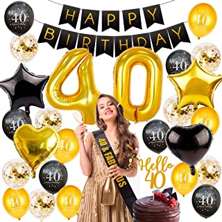 40th Birthday Decorations Party Supplies, Birthday Balloon Gold Number 40, 40 Birthday Banner, Hello 40 Cake Topper, Fabulous Sash, 40 Birthday Party Decorations by QIFU (40 Birthday Balloons)