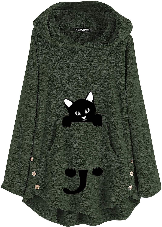 Hoodies Sweater for Women Oversized Button Plush Tops Fleece Fuzzy with Pocket Warm Coat Jacket for Outwear Winter
