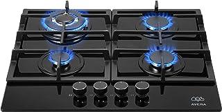 AVERA HEV4 Parrilla a gas de Empotrar con 4 Quemadores en Vidrio Templado, color Negro. Estufa cocina