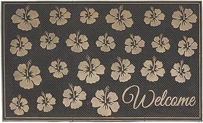 JVL Havana Heavy Duty Welcome Rubber Pin Door Mat, Flowers, 45 x 75 cm
