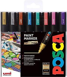 Uni Posca PC-5M Paint Marker Pen Wallet, Metallic Colours Set of 8 Assorted Colours, Medium Tip