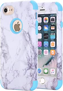 iPhone 7 Case, iPhone 8 Case, Ankoe White Marble Stone Pattern Shockproof Full Body Protective Cover Dual-Layer Slim Soft ...