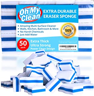 (50 Pack) Extra Durable Eraser Sponge - Extra Thick, Long Lasting, Premium Melamine Sponges in Bulk - Multi-Purpose Power Scrubber - Bathroom, Kitchen, Floor, Bathtub, Toilet, Baseboard, Wall Cleaner