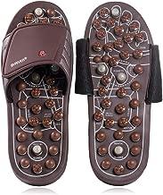 BYRIVER Plantar Fasciitis Slippers Acupressure Foot Massager, Jade Stone Indoor Massage Flip Flops Shoes, Reflexology Sandals Relaxation Gifts for mom dad(03S)