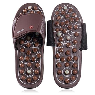 BYRIVER Acupressure Plantar Fasciitis Foot Massager, Jade Stone Indoor Massage Slippers Shoes, Reflexology Sandals Relaxation Gifts for Men Women(03S)