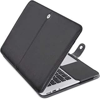 MOSISO Case Only Compatible with MacBook Air 11 Inch A1370 / A1465, Premium PU Leather Book Folio Protective Stand Cover Sleeve, Black